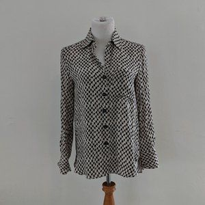 Black and White Houndstooth Print Blouse